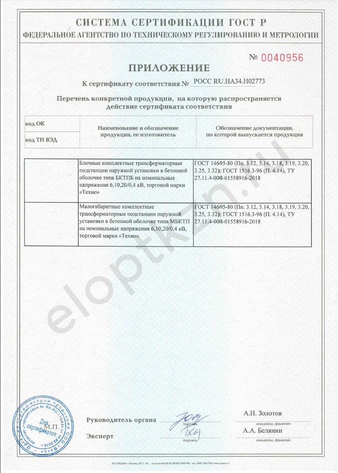 Сертификат соответствия БКТП-6,10,20 (страница 2)